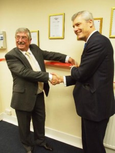 Peter Appleton and Jerry Blackett cut the ribbon